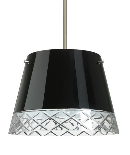 Besa Lighting 1KT-4340BC-LED-SN 3X6W GU24 Amelia 15 LED Pendant with Black/Hand-Cut Glass, Satin Nickel - Led Amelia Satin Sn