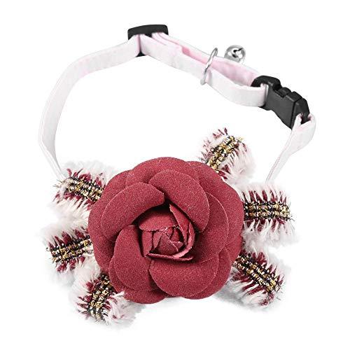 Qiterr Fashion Pet Cat Dog Necklace Necktie Puppy Flower Collar Bow Tie Neck Accessory M(Red) -