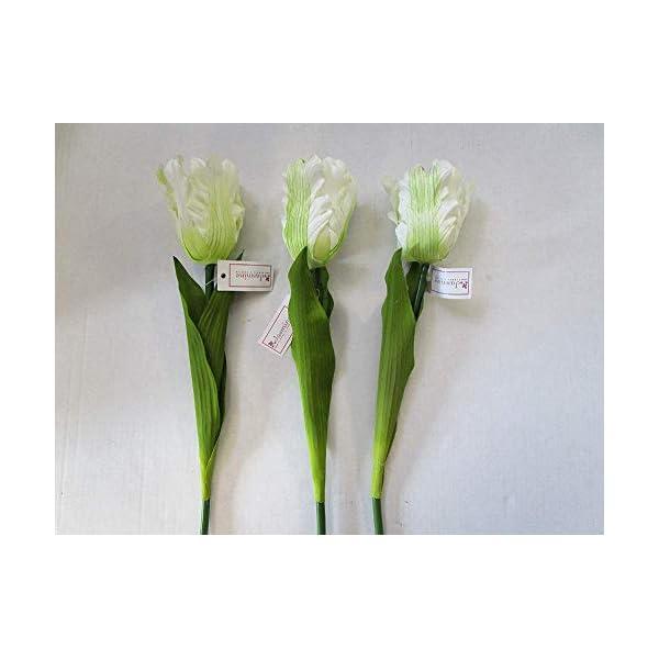 MARJON FlowersPack of 3 Artificial Ivory Parrot Tulip Stems – 56cm – Fake Flowers White/Cream