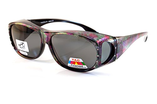 FBL Large Bling Polarized Fit Over Glasses Sunglasses with Side View P012 (Purple Green - With Over Sunglasses Fit Bling