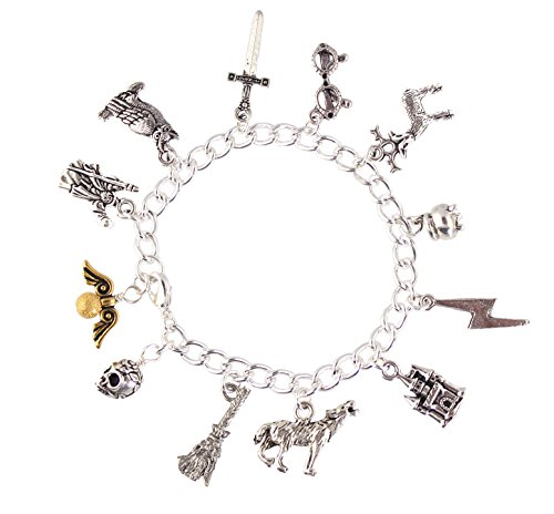 - Night Owl Jewelry Wizards and Witches Magic Fantasy Fan Charm Bracelet - Pewter Charms, Silver Plated Chain (L 8 Inches)