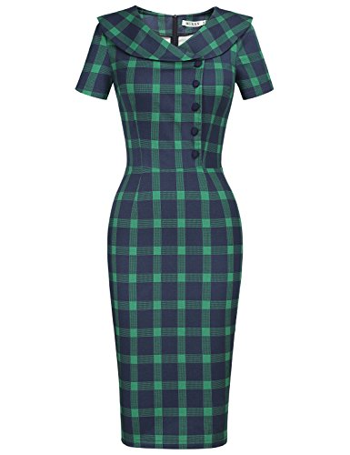 MUXXN Women's Retro 1950s Sheath Stretchy Tea Length Dress (Green Plaid (Tartan Tea)
