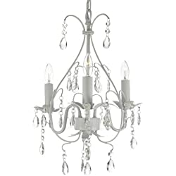 Wrought Iron Crystal Chandelier Lighting Country French White, 3 Lights, Ceiling Fixture