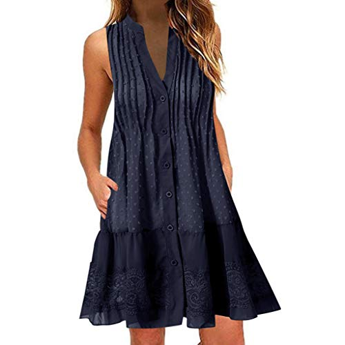 Aniywn Women's Vest Dress Sleeveless V-Neck Flare Hem Midi-Dress Casual Beach Plus Size Mini Dress Blue -