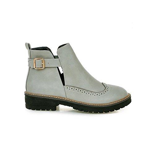 AgooLar Women's PU Low-Top Solid Buckle Low-Heels Boots Gray AaD4xifKa