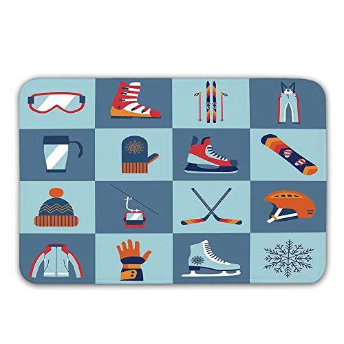 (TecBillion Kids Rubber Backing Non Slip Door Mats,Ice Skating Winter Sports Skiing Boot Cap Glasses Glove Helmet Skates Snowboard Print Doormat Floor Mats Rugs,31.5