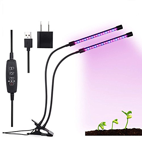 Garden4Ever Grow Light, 36 LED Full Spectrum Plant Lights 3/9/12H Timer 5 Dimmable Levels Grow Lamp Bulbs for Indoor Plants Hydroponics Greenhouse Gardening