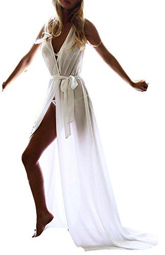 Women's Jaycargogo White V Maxi Beach Neck Dresses Side Slit Bohemian 6nvwUF1np
