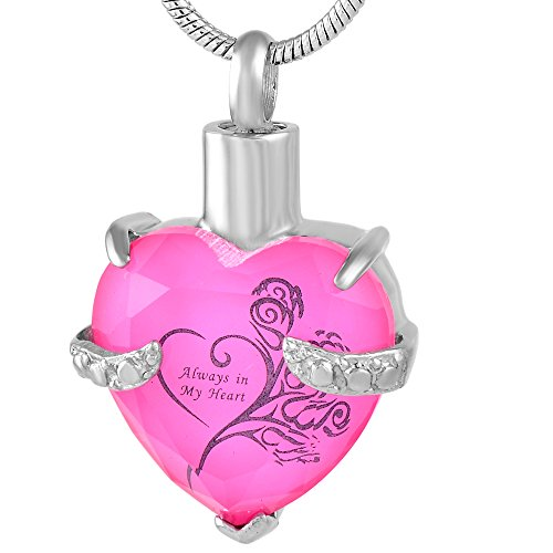 (constantlife Always in My Heart Memorial Jewelry Stainless Steel Cremation Urn Pendant Necklace (Pink and Black))