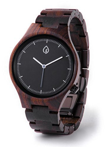 TheHrdwood Wooden Watch Wood Watch Groomsmen Gift, Boyfriend Gift, Father Gift Anniversary Gift for Men (Black)