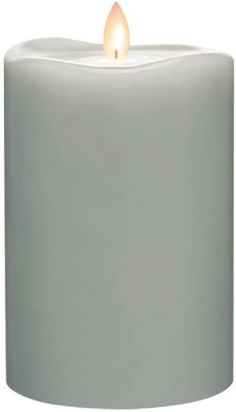 Sterno Home MGT12726GY Mirage Gold Light Gray Wax Pillar with Timer