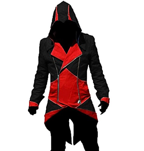 Deluxe Cosplay Costume Hoodie Jacket/Coat Many Sizes APK57 (Asian Small, Black-red)