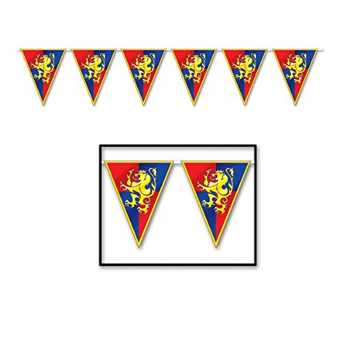 Beistle Club Pack Medieval Printed Plastic Pennant Banner, Box of 12 (Medieval Pennant Banner)