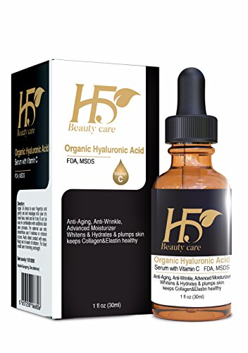 [H5Beauty]Anti aging Hyaluronic Acid With VitaminC Serum+Amino Acid+Grape Seeds Oil-Reduce Wrinkles,Fine Lines;Best Moisturizer For Face,Lips,Under Eyes,Skin Whitening,Sun Spot,Firming(Organic)FDA/1Oz