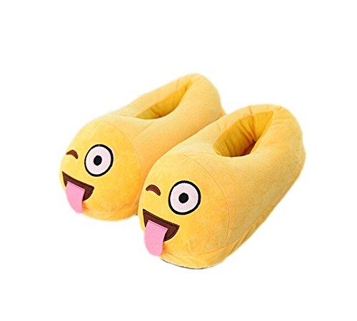 DELEY Unisex de dibujos animados Emoji Zapatillas de Invierno Cálido Expresión de la Felpa de la Casa de los Zapatos La lengua