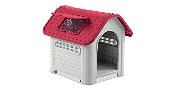 4567 Caseta en forma de casa para perro PROLABZOO con toma de aire 72x75X85CM - Rojo: Amazon.es: Productos para mascotas