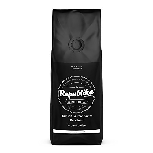 Republika Coffee Fairtrade Low-Acid Organic Coffee (Brazilian Bourbon Santos Dark Ground Coffee, 2 lb)