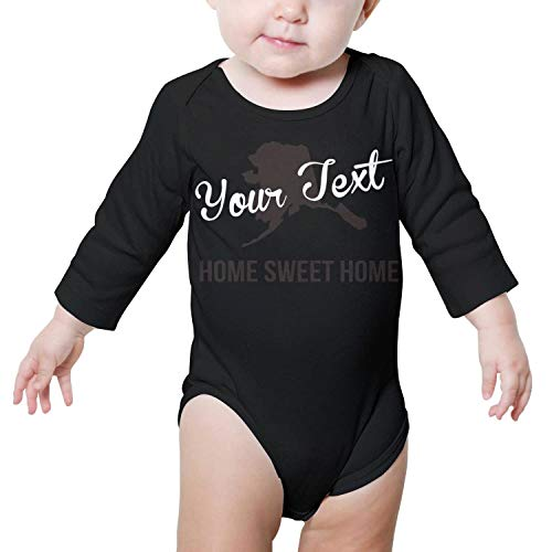 PoPBelle Alaska Home Sweet Home Baby Onesies Black Outfits Long Sleeve Neutral Cotton Gift