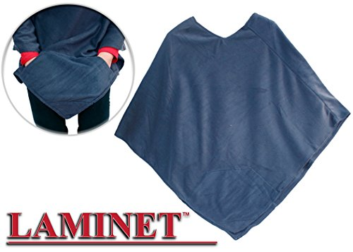 - LAMINET Navy Fleece Wheelchair Poncho - Front Pockets - Easily Slip On to Stay Warm