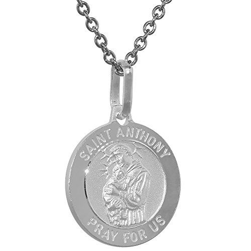 Dainty Sterling Silver St Anthony Medal Necklace 5 8 Inch Round Italy