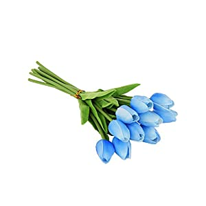EZFLOWERY 10 Heads Artificial Tulips Flowers Real Touch Arrangement Bouquet for Home Room Office Party Wedding Decoration, Excellent Gift Idea for Mothers Day (10, Blue) 61