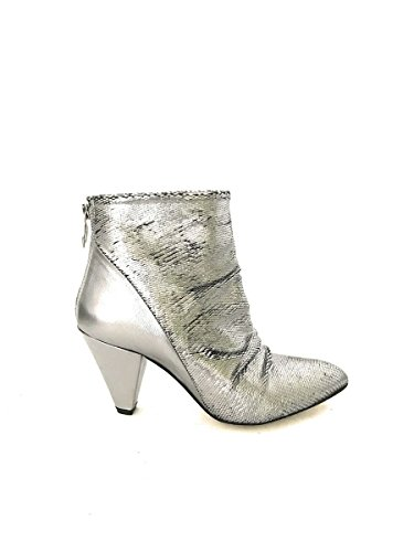 DIVINE FOLLIE High Heel Ankle Boots Real Leather Silver MainApps Divine High Heel Heels