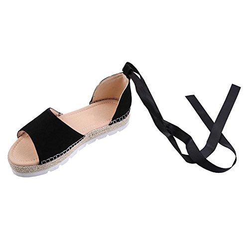 L@YC® Mujer De Verano Ronda Zapatos Inferiores Planos Con Gruesas Sandalias Fondo Boca Transpirable Black