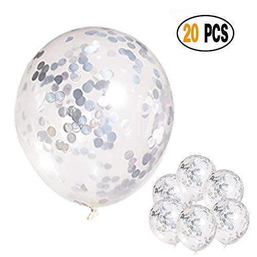Mayen 20 Pcs 12 Inch Silver Confetti Balloons for Bridal Shower, Birthday Party Decorations Weddings, Christmas]()