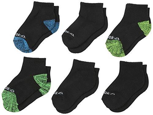 ('Reebok Boys' Cushioned Quarter Cut Basic Socks (6 Pack), Black Marled, Size Large/Shoe Size: 4-10')