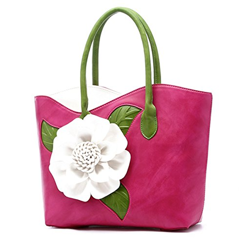 Bags Style Classic Top Green Rose Tote Bag Handbag 3D Handle Ladies Bag Women's Leather Flower Shoulder xFOqYwxH7