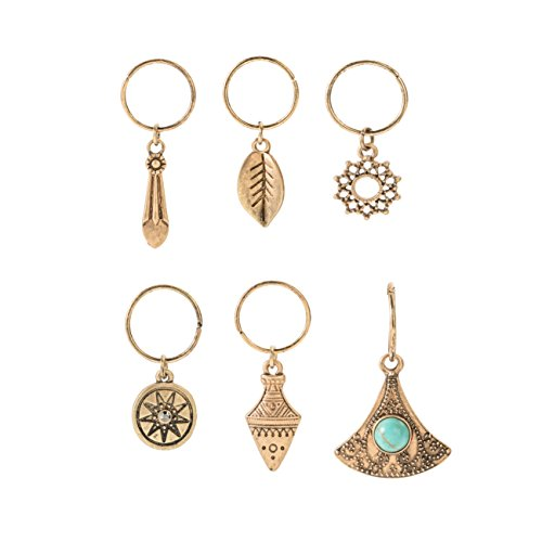 Fettero Hair Pierced Braid Ring Set Loops Clips Vintage Pendant Dangle Headband Accessories Unisex Natural Stone Turquoise Inlay Carved Flower Leaf Gold -