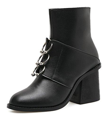VogueZone009 Damen Blockabsatz Rein Rund Zehe Reißverschluss Stiefel mit Lesbie, Weiß, 36