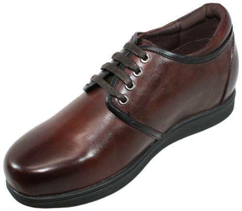 calto–g5182131–8,1cm Grande Taille–Hauteur Augmenter Ascenseur Chaussures en cuir (Marron)