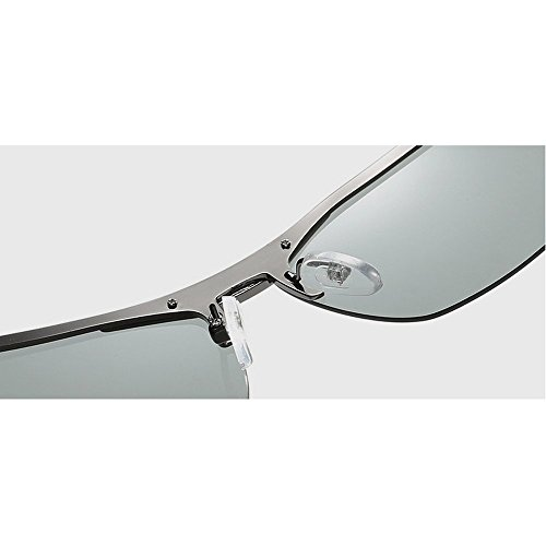 e757473db99 MINCL Polarized Photochromic Lens Sunglasses Day and Night Driving Semi  Frame Photosensitive Sunglasses for Men
