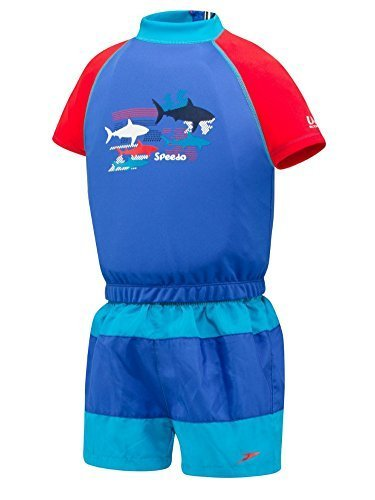 02 Swim Vest - Speedo Boys Blue 2 Piece Flotation Suit Polywog Swim Trainer S/M (1-2 Years)