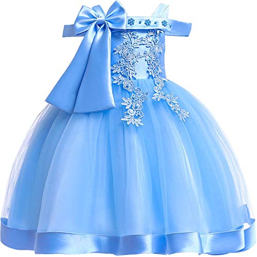 (Baby Girls 3D Flower Embroidery Silk Princess Dress for Wedding Party Kids)