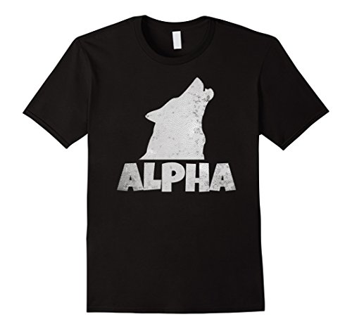 Mens Alpha Lone Wolf T-shirt Pack Member Wildlife Howling Tee Large Black -