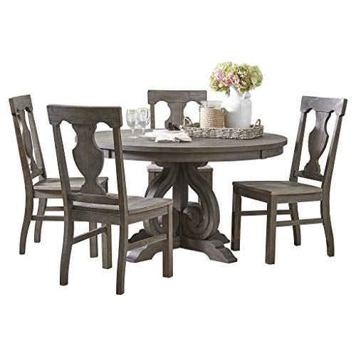 Homelegance Toulon 5-Piece Round Dining Table Set, Dark Pewter
