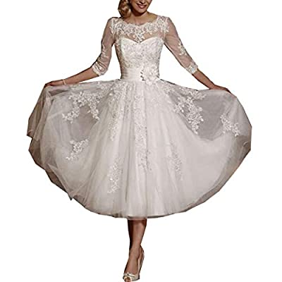 GFDress Women's Short A-line Wedding Dresses Prom Gowns 3/4 Lace Applique Bridal Gowns School Prom Gowns