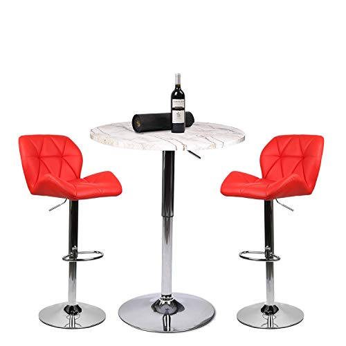Bar Table Set of 3 Adjustable Round Table and 2 Swivel Pub Stools for Home Kitchen Bistro, Bars Wine Cabinets Set 8.1.1