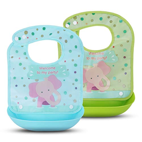 2 Pack Waterproof Baby Bibs - Kirecoo Cute Elephant Baby Bibs with Crumb & Drip Catcher, Catches Everything, Comfortable, Keep Stains Off