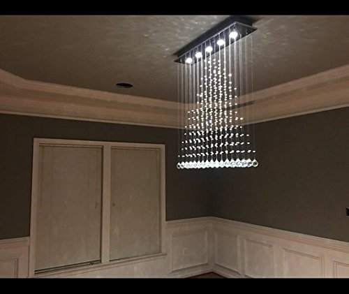 Contemporary Modern Crystal Rain Drop Chandelier Lighting Flush ...