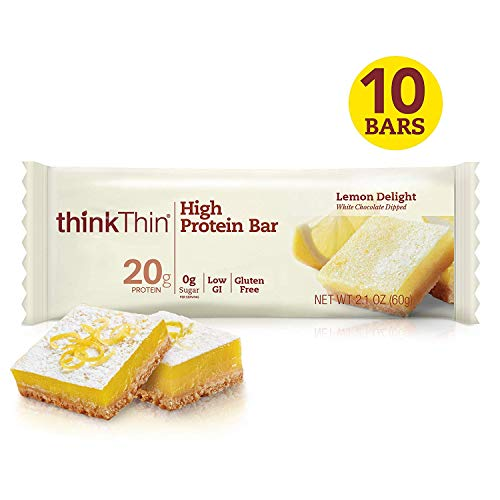 thinkThin High Protein Bars - Lemon Delight, 20g Protein, 0g Sugar, No Artificial Sweeteners, Gluten Free, GMO Free*, Best Nutritional Snack/Meal bar, 2.1 oz bar (10Count)
