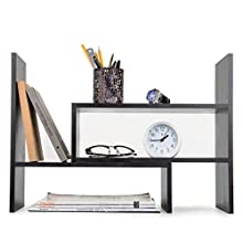 Adjustable Wood Desktop Storage Organizer Display Shelf Rack, Counter Top Bookcase, Dark Gray