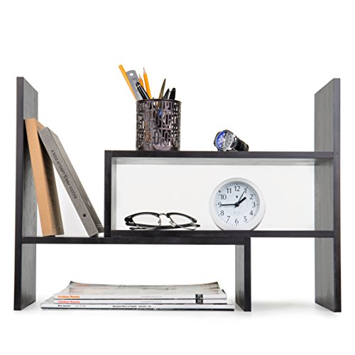 Adjustable Wood Desktop Storage Organizer Display Shelf Rack, Counter Top Bookcase, Dark Gray Dark Wood Shelves