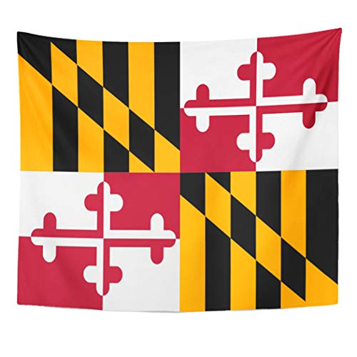 Semtomn Tapestry Artwork Wall Hanging American Dynamic Maryland State Flag on Marylander Annapolis Baltimore 60x80 Inches Home Decor Tapestries Mattress Tablecloth Curtain Print