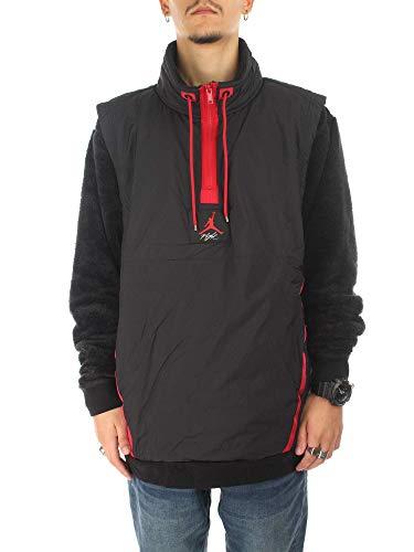 Nike Jordan Sportswear Wings of Flight Men's Fleece 1/4-Zip Pullover (Black/Gym Red, Large)
