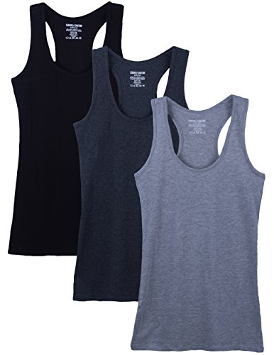 Caramel Cantina 3 Pack Juniors Cotton Racerback Tank top (Medium, Blk/Greys)