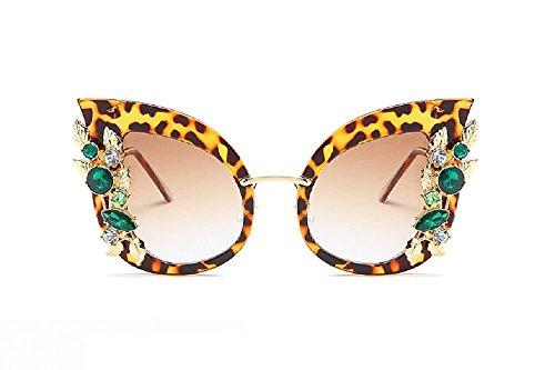 Beaded Leopard Shade - Flowertree Women's SJR-A03 Rhinestone Gold Leaf Embellish Cateye Sunglasses (leopard+brown)