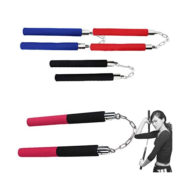 Starmood-Martial-Arts-Nunchakus-Weapon-Foam-Metal-Chain-Safe-Sponge-Nunchucks-for-Beginners